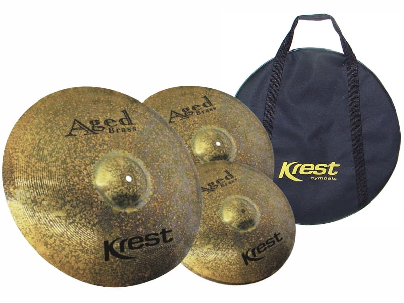 "Set de Pratos Krest Aged Brass Hi-Hat 13"", Crash 14"", Crash Ride 18"" + Bag"