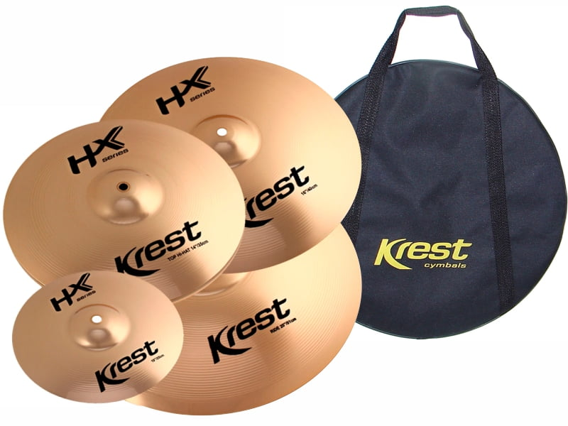 "Set de Pratos Krest HX Series Hi-Hat 14"", Crash 16"", Ride 20"", Splash 10"" + Bag"