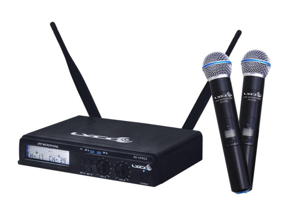 Microfone de Mão Duplo UHF Sem Fio Lyco UHX Pro-02MM