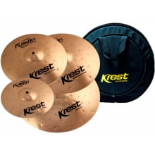 "Set de Pratos Krest Fusion Series Hi-Hat 14"", Crash 16"", Ride 20"", Splash 10"" + Bag"