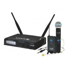 Microfone de Mão Headset e Lapela UHF Sem Fio Lyco UHX Pro-02MHLI