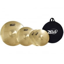 "Set de pratos Zeus Beginner Hi-Hat 13"" Crash 16"" Ride 20"" c/ Bag"