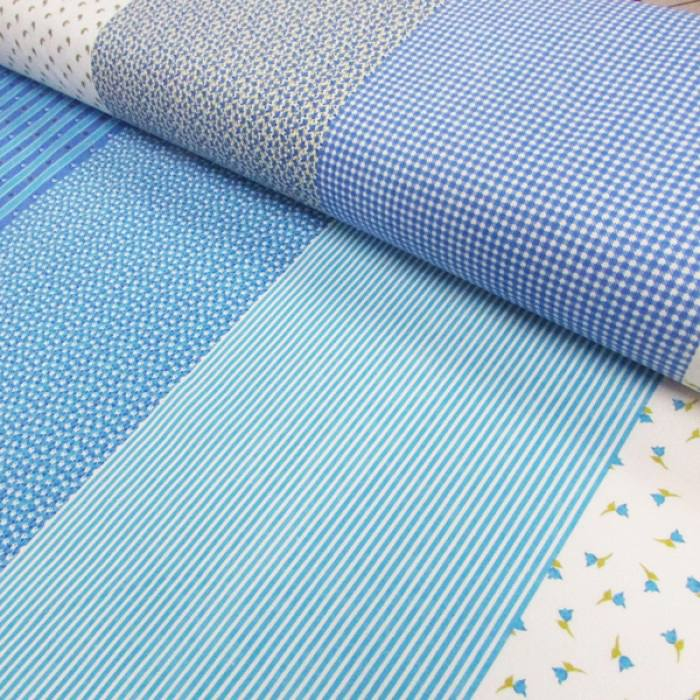 Tecido Tricoline Mista Barras Patchwork - Azul