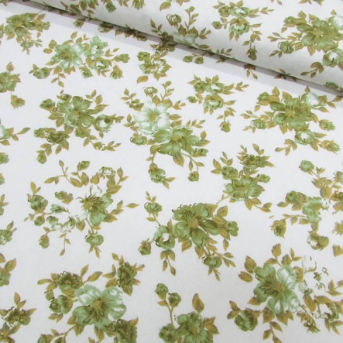 Tecido Tricoline Mista Floral Classic - Verde Oliva
