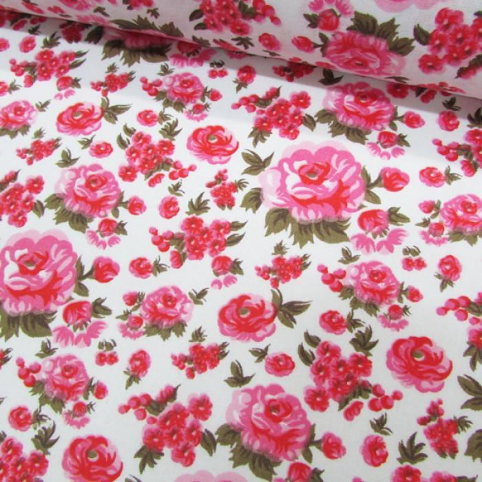 Tecido Tricoline Mista Floral Decora - Rosa