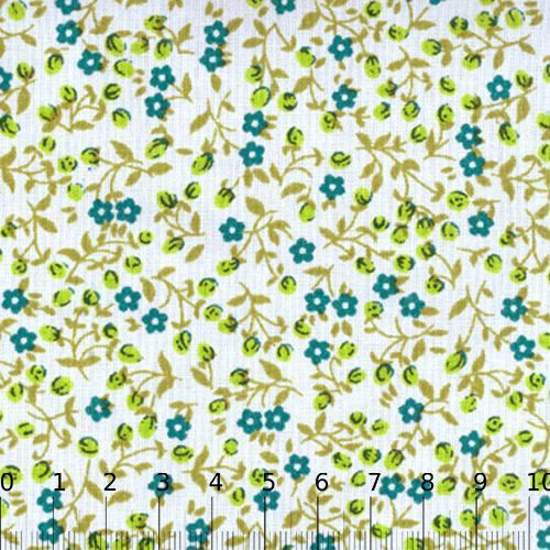 Tecido Tricoline Mista Floral Liberty Luna - Turquesa