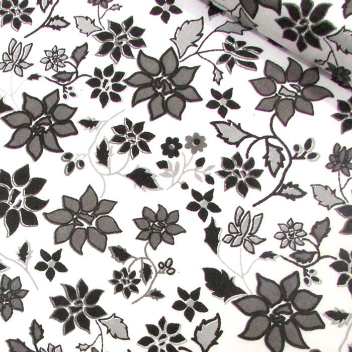 Tricoline Mista Floral Jardim - Preto e Branco