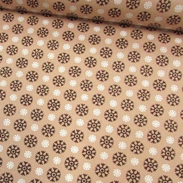 Tecido Tricoline Mista Formas Flocos de Neve - Caqui