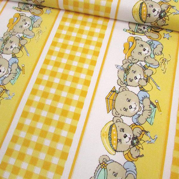 Tricoline Mista Barrada Ursinhos - Amarelo