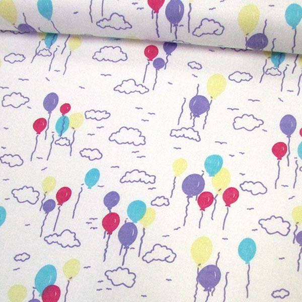 Tecido Tricoline Mista Balões Coloridos - Lilás