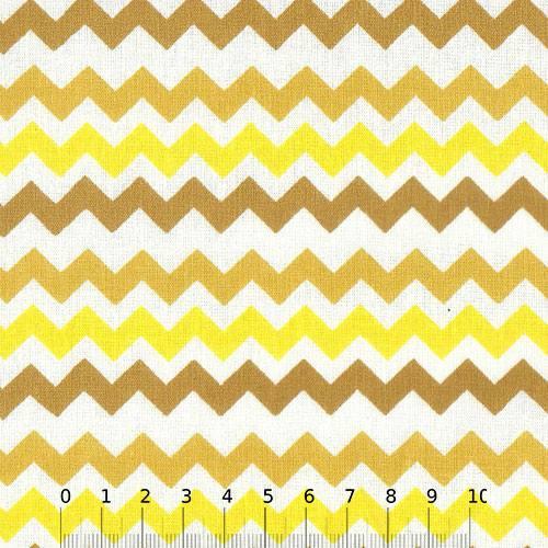 Tecido Tricoline Mista Chevron Multicores - Amarelo