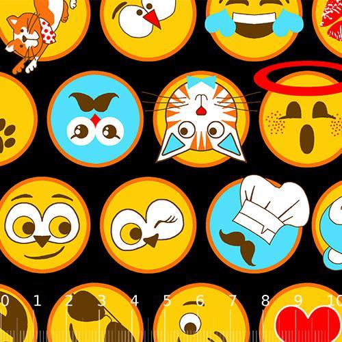 Tecido Tricoline Alg. Emoticons - Preto