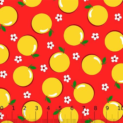 Tricoline Alg. Frutinhas Laranjas - Fundo Vermelho