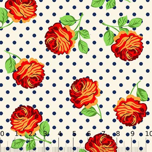 Tecido Tricoline Alg. Floral - Flor e Poá - Bege - 100% Algodão - Largura 1,45m