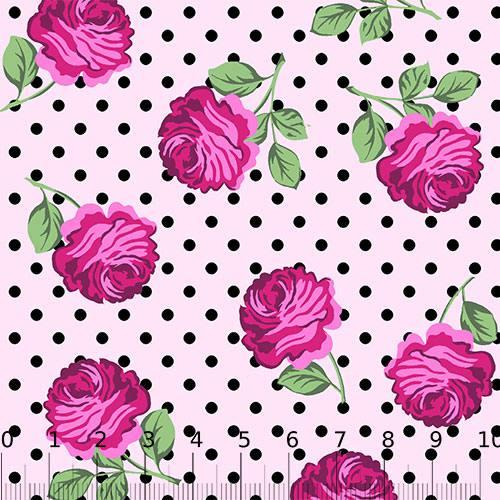 Tricoline Alg. Floral - Flor e Poá - Rosa