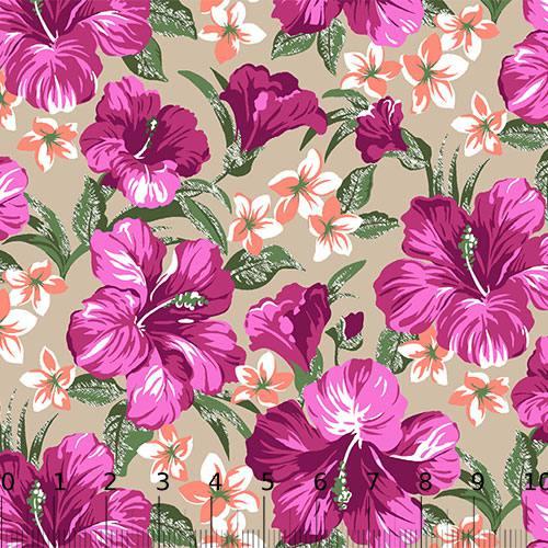Tecido Tricoline Alg. Floral - Hibisco - Fundo Bege