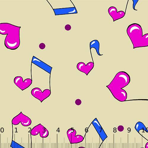 Tecido Tricoline Alg. Notas Musicais Love - Bege - 100% Algodão - Largura 1,45m