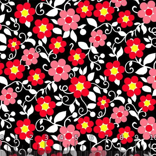 Tecido Tricoline Alg. Floral - Bloom - Fundo Preto