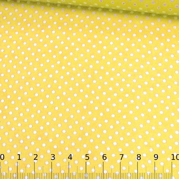 Tecido Tricoline Mista Pop Textoleen Poá M Fundo Amarelo - 50% Algodão 50% Poliéster - Largura 1,38m