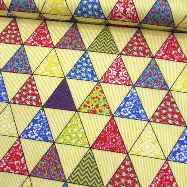 Tecido Tricoline Mista Pop - Bandeirinhas - Amarelo