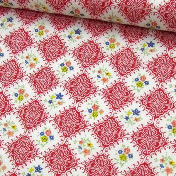 Tecido Tricoline Mista Pop Textoleen Floral Azulejo - Vermelho - 50% Algodão 50% Poliéster - Largura 1,38m