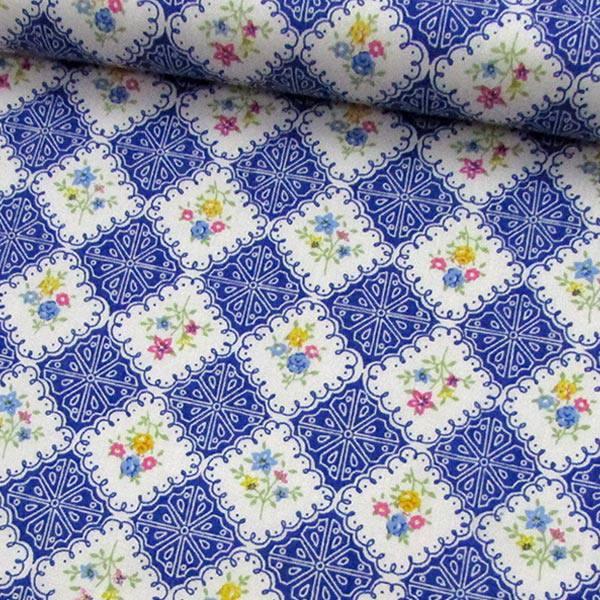 Tricoline Mista Pop - Floral Azulejo - Azul