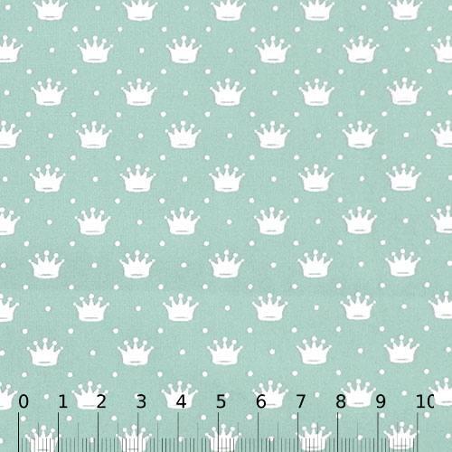 Tricoline Pequenas Coroas e Poás - Verde Claro c/ Branco