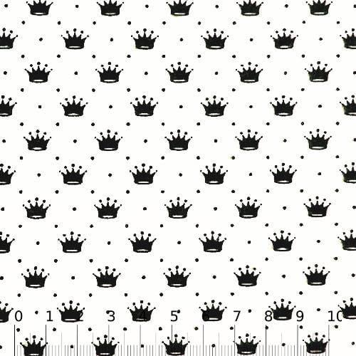 Tecido Tricoline Pequenas Coroas e Poás - Branco c/ Preto