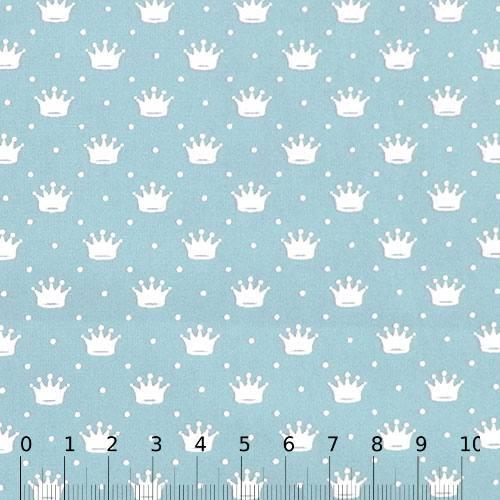 Tecido Tricoline Pequenas Coroas e Poás - Azul Claro c/ Branco
