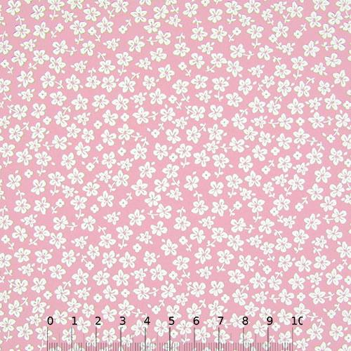 Tecido Tricoline Floral - Trevos Fundo Rosa Claro