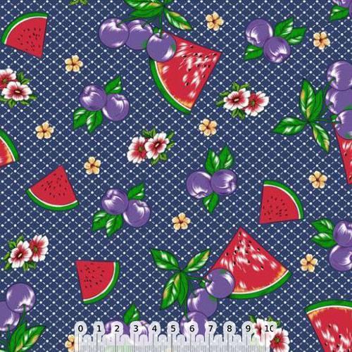 Tecido Tricoline Frutinhas e Flores - Azul Marinho