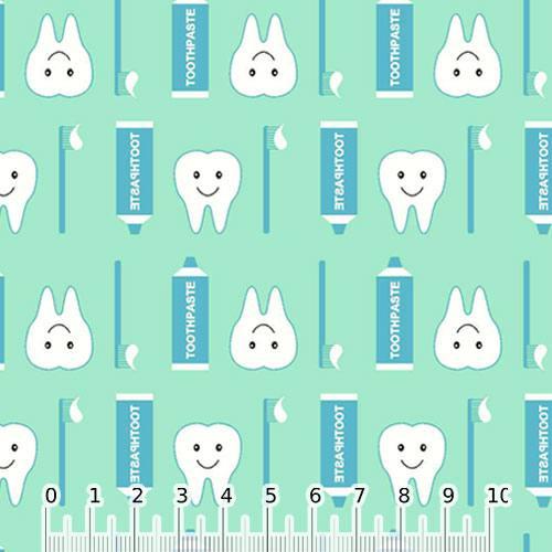 Tecido Tricoline Dentinhos Sorridentes - Verde - 100% Algodão - Largura 1,50m