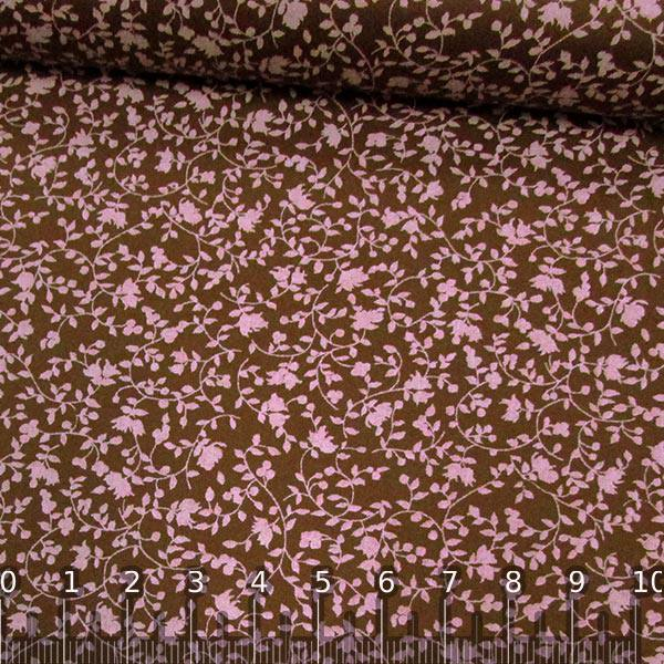 Tricoline Floral Romance - Marrom c/ Rosa