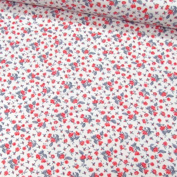 Tecido Tricoline Floral Liberty Clara - Flores Vermelhas