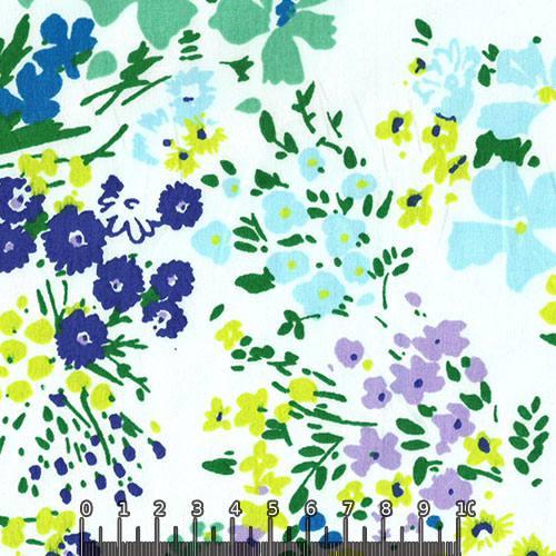 Tricoline Floral Primavera Verona - Azul e Verde