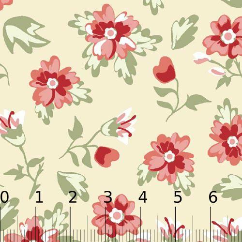 Tricoline Floral Delicatte - Bege (Largura: 1,50 m)