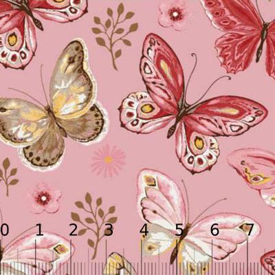 Tricoline Borboletas Encanto - Fundo Rosa