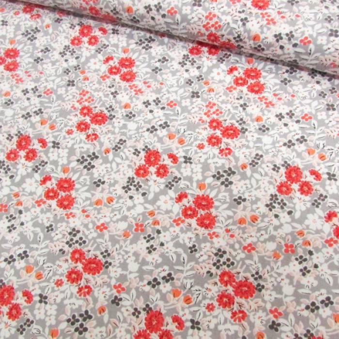Tricoline Floral - Oriental Cinza e Vermelho