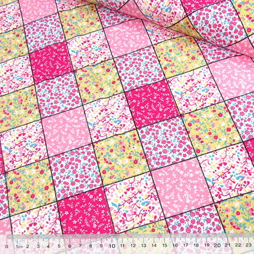 Tricoline Mista Pop - Patch Quadrados - Rosa