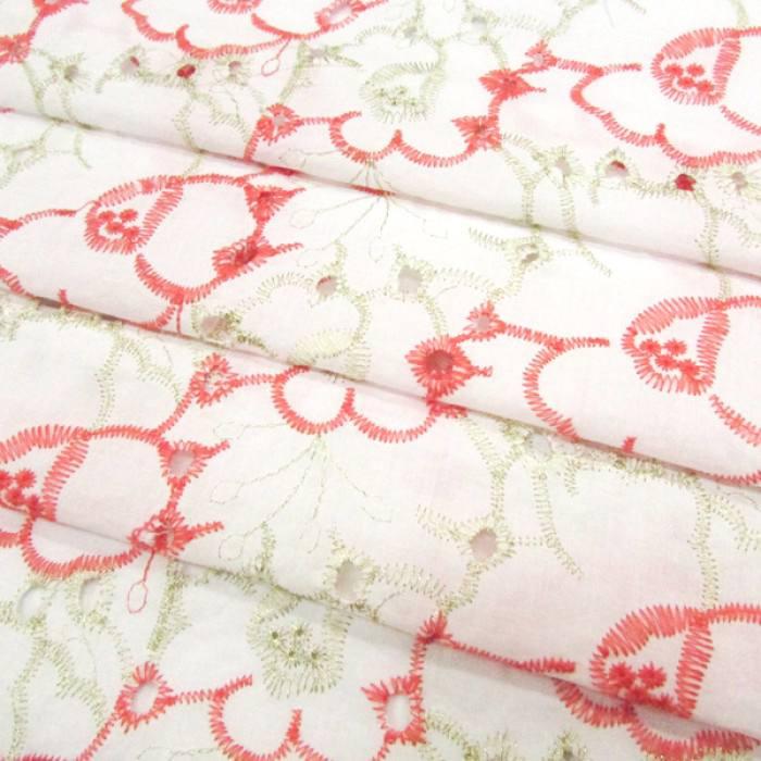Tecido Lese Bordada Cores Flores - Vermelho (Largura: 1,35 m)