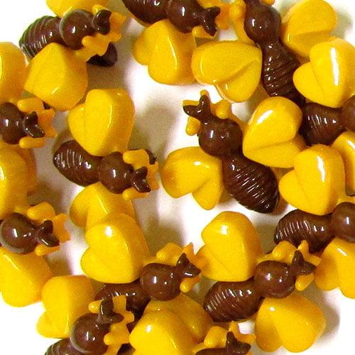 Botão Infantil Abelhinhas - Marrom e Amarelo (12 unidades)