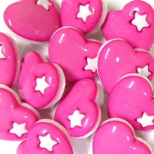 Botão Infantil Coração - Rosa (12 unidades)