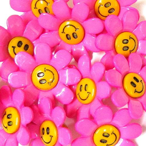 Botão Infantil Florzinhas Felizes - Rosa (12 unidades)