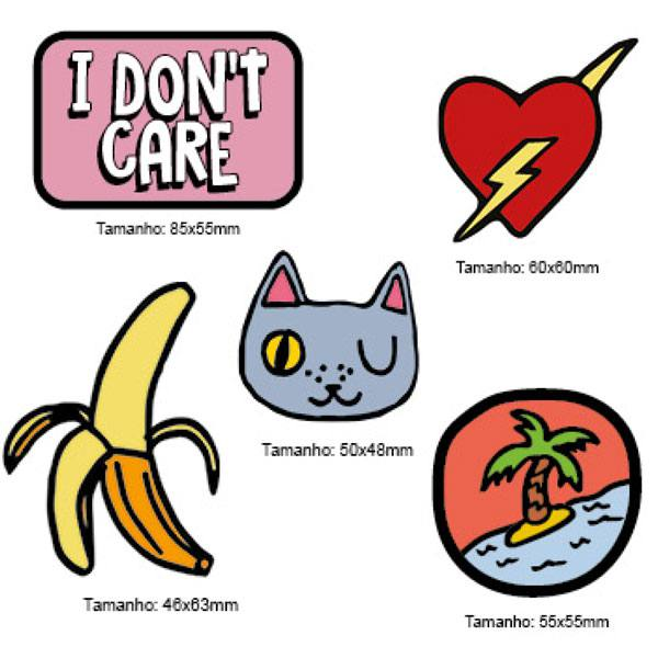 Kit Patches Termocolante - Kit 04 Dont Care - 5 unidades