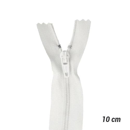 Zíper Sintético Fino Coats - Branco - 10 cm