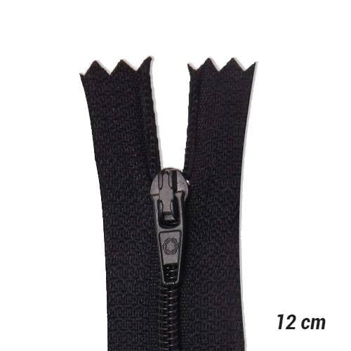 Zíper Sintético Fino Coats - Preto - 12 cm