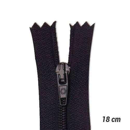 Zíper Sintético Fino Coats - Preto - 18 cm