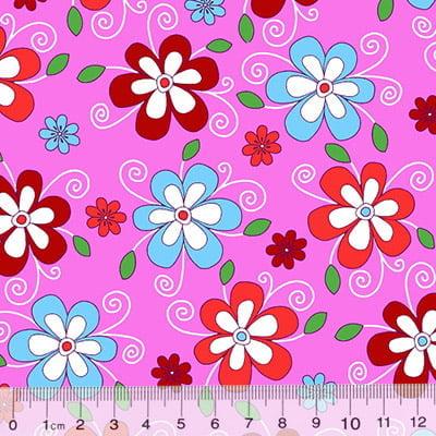 Tecido Chita Floral Cassis - Rosa