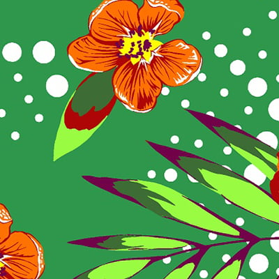 Tecido Chita Floral Comotini - Verde - 100% Algodão - Largura 1,40m