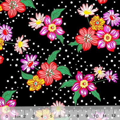 Tecido Chita Floral Lille - Preto